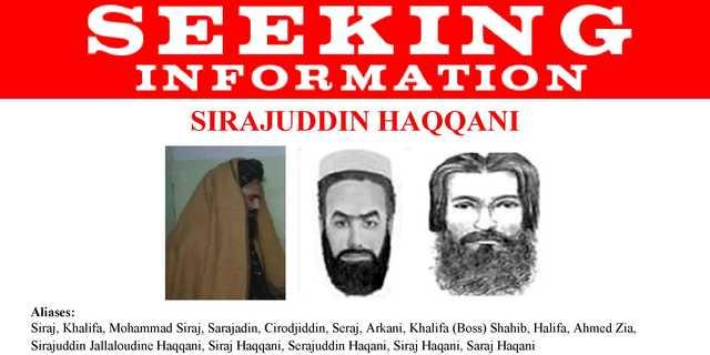 FBIが発行したシラジュディン・ハッカニの指名手配ポスター。