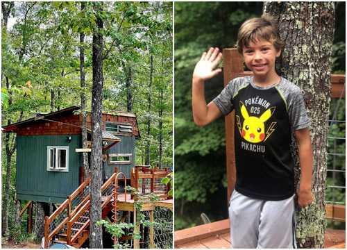 ノースカロライナ州のイーライズ・ツリーハウス(左)とそのデザイナーで9歳のイーライ・シルベスターくん。