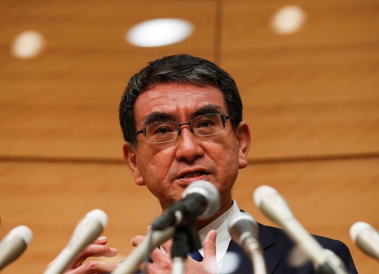 自民党総裁選への立候補を表明する河野太郎氏(9月10日)