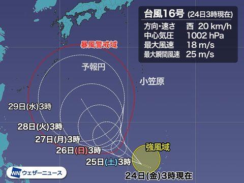 台風16号の予想進路。