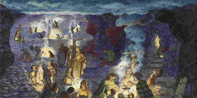 鉄器時代初期、ハルシュタット岩塩坑の想像図。