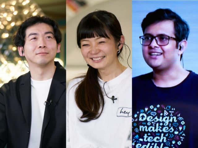 オンラインフェス「L&UX2021」の登壇した藤井氏(左)、塚原氏(中)、ティワリ氏(右)