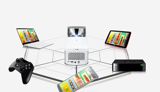 さまざまな映像出力機器との接続を有線、ワイヤレスで実現するLG「CineBeam HF65LS」。