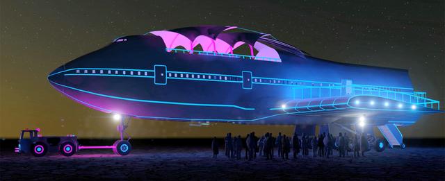「Burning Man」はボーイング747を砂漠のアートに変える