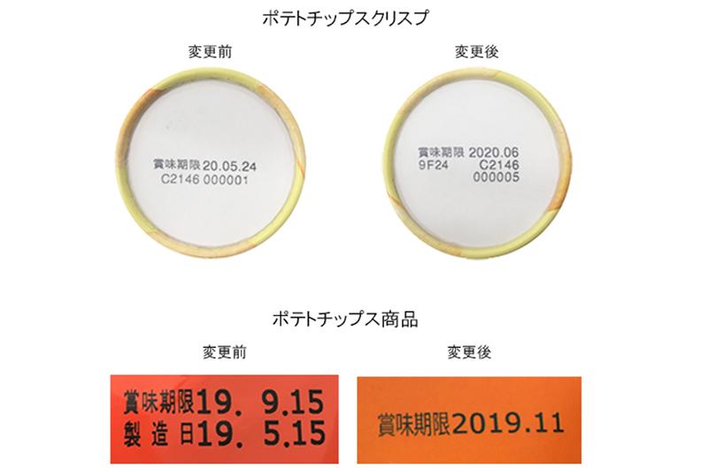 賞味期限の延長前(左)と延長後(右)の商品の比較