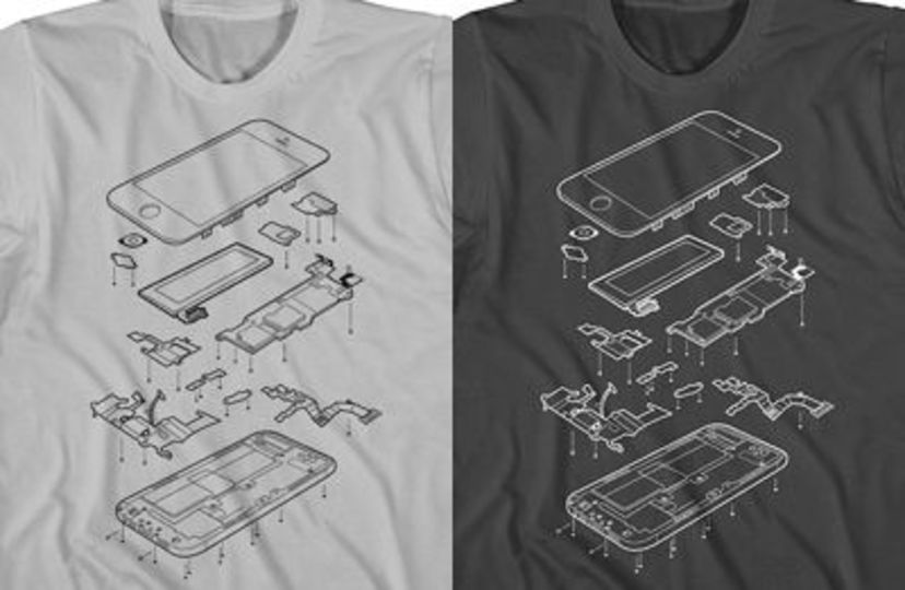 着てる人はギーク確定! iPhone 5の分解Tシャツ発売される