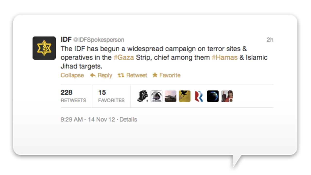 ソーシャルで世界平和どころか...イスラエル軍がツイッターで宣戦布告&戦況ライブ更新、ハマスも応戦(動画あり)