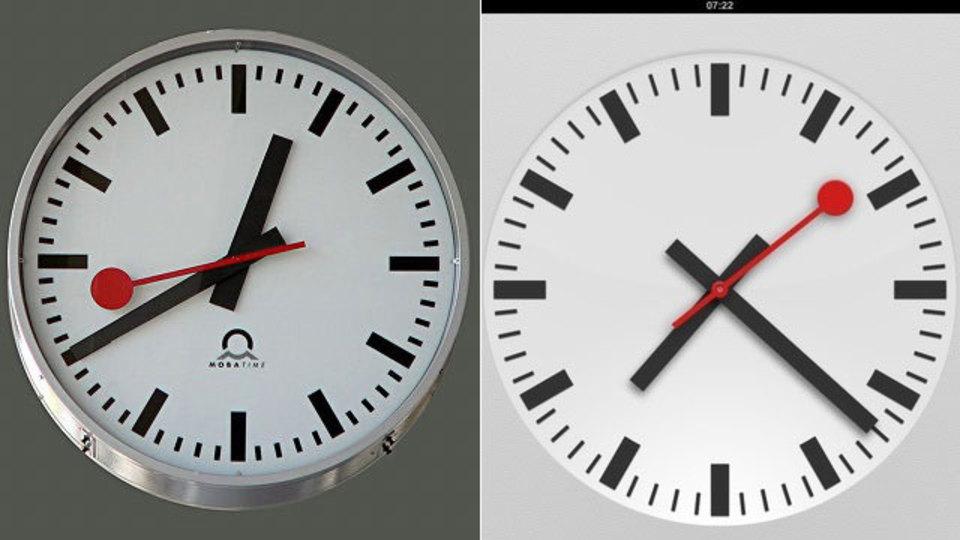 アップルがiOS 6で無断コピーしたスイス国鉄の時計デザイン、そのライセンス料が17億円に