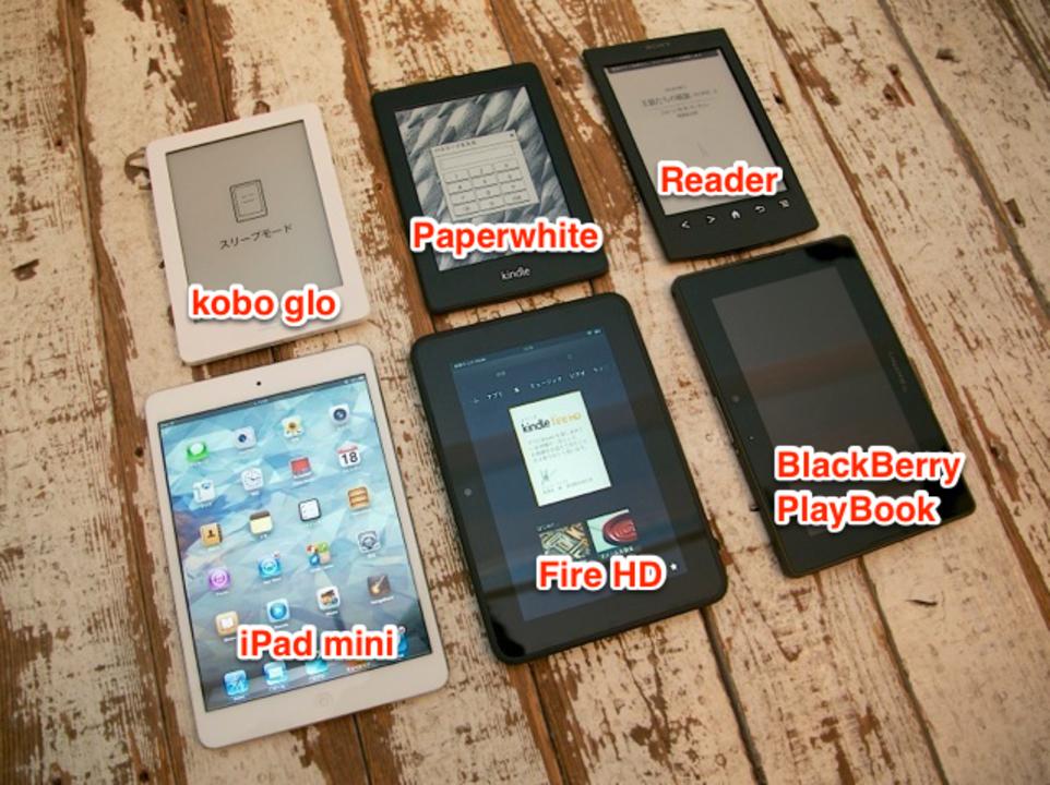 Kindle Fire HDとPaperwhiteとiPad miniの大きさを一目で!