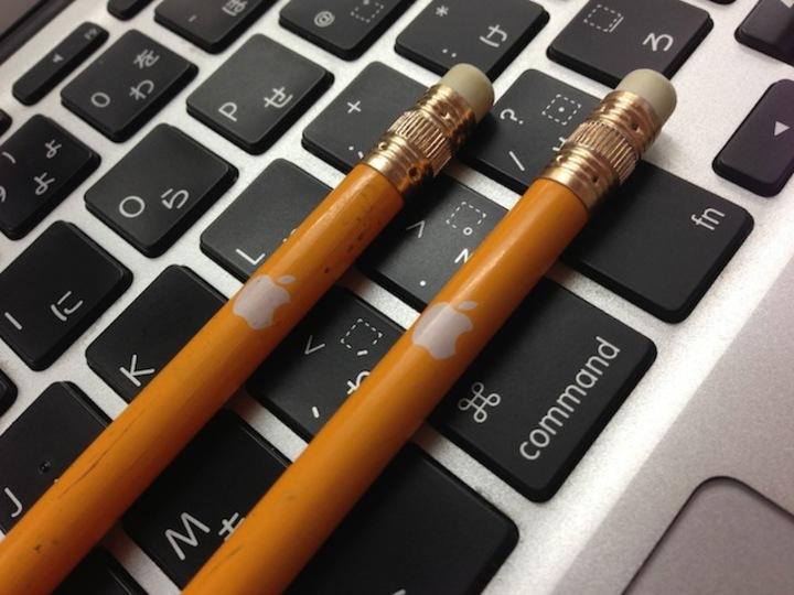 削るのがもったいない! アップル本社でしか手に入らないアップルロゴ入り鉛筆