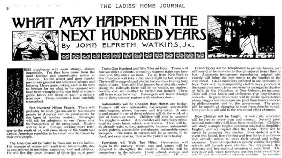 100年前の未来予想リスト...当たらずとも遠からず?
