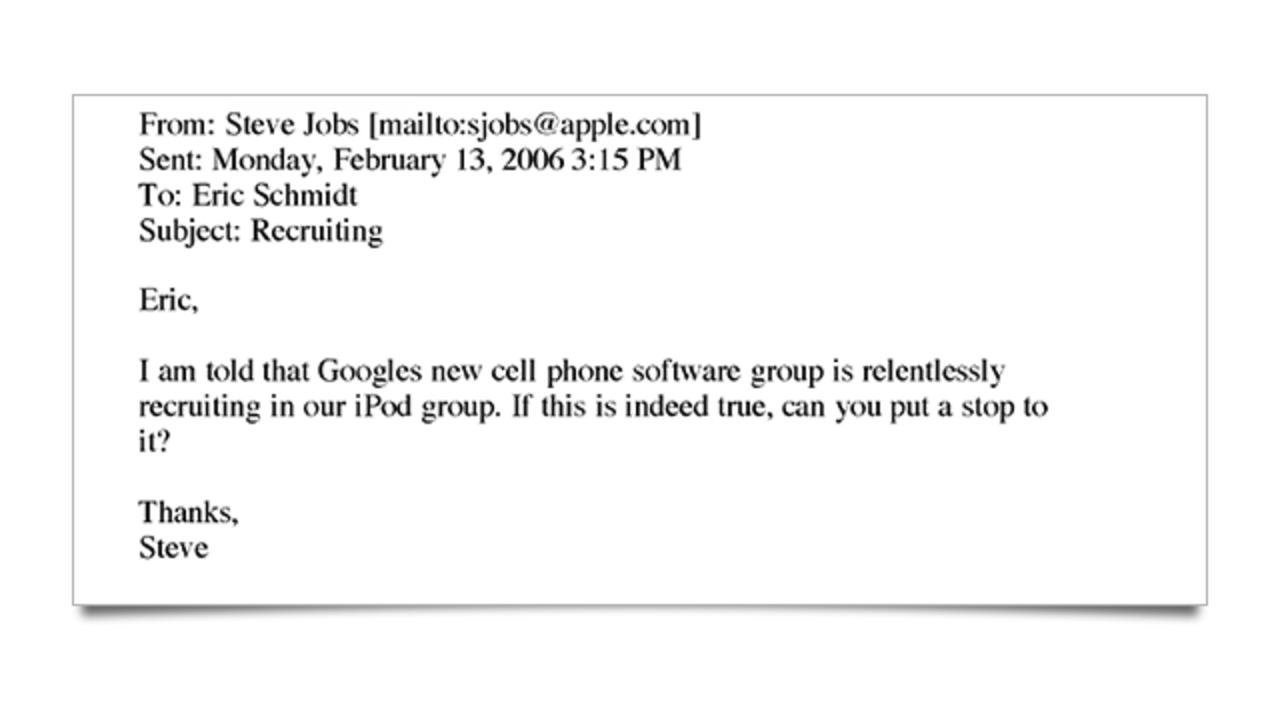 久々の黒ジョブズ...アップル、グーグル、アドビ等を社員引き抜き禁止協定訴訟に巻き込んだメール