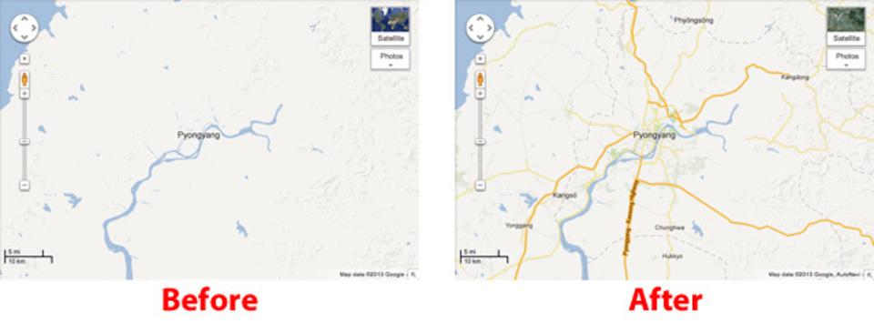 北朝鮮の地図をGoogle マップで見られるようになったよ