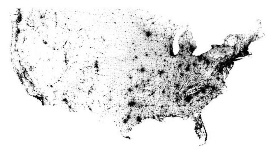 1人を1ドットで、アメリカ人口マップ