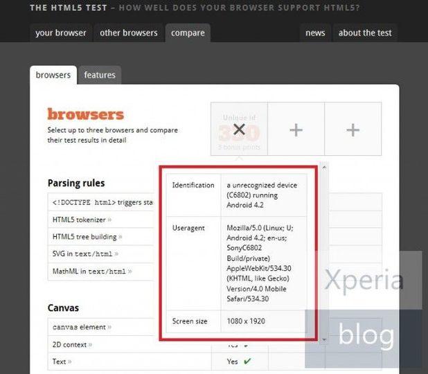 Xperia Zの後継機は今年後半に登場? 計測結果がテストページに表示されたよ!