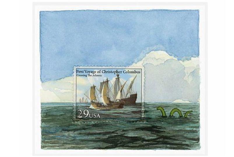 切手の外に広がる世界を描いてみたアート