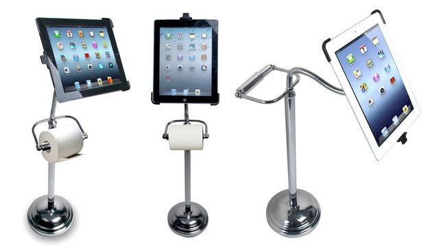 iPadトイレユーザーに朗報、トイレットペーパーホルダー一体型iPadホルダー