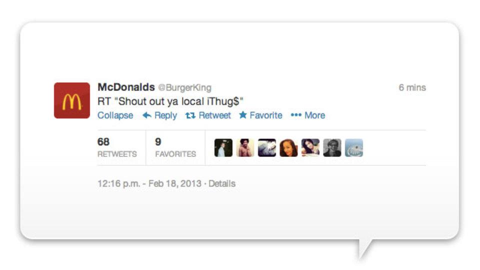 バーガーキングのTwitterアカウントがハッキングされ、マクドナルドになる