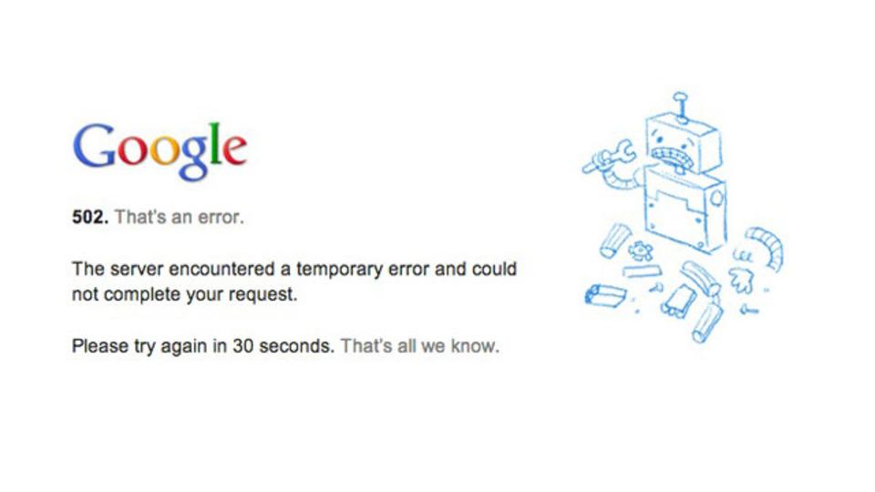 【速報】Googleドライブなど各種Google Appsが落ちている模様(追記:復旧しました)