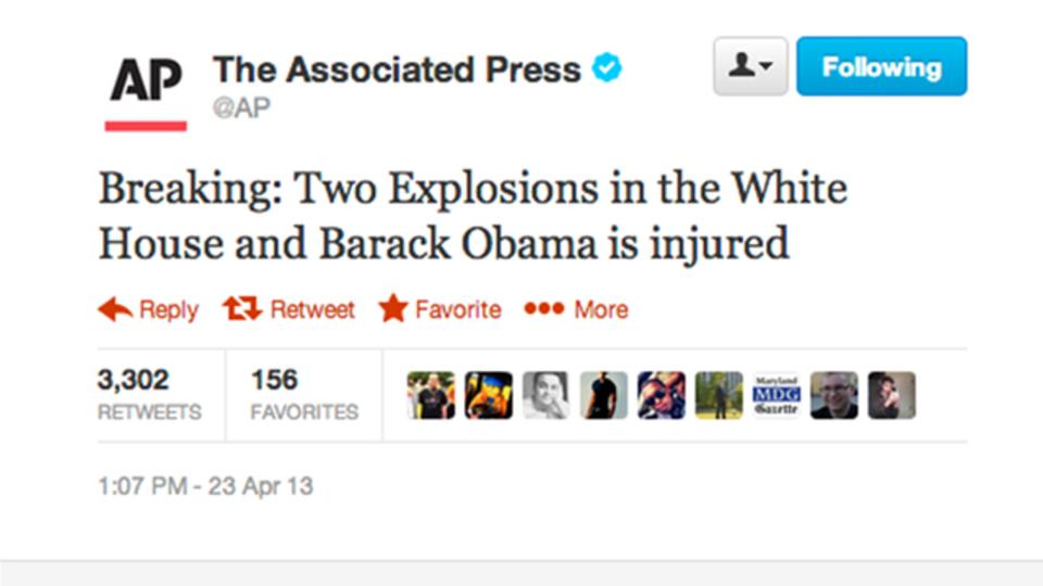 AP通信「ホワイトハウスで爆発」ツイート→株価下落→実はハッキングによる「誤報」