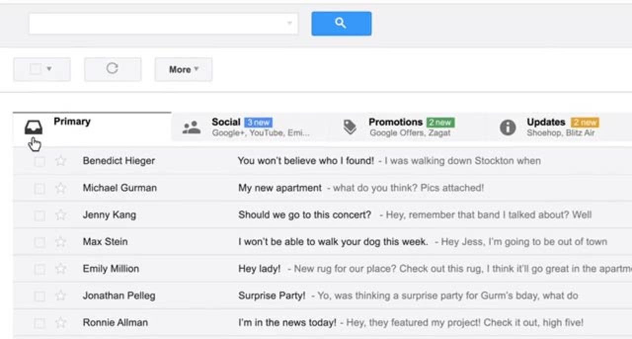 新Gmail、タブ切り替えでメールをカテゴリ分け管理(動画あり)