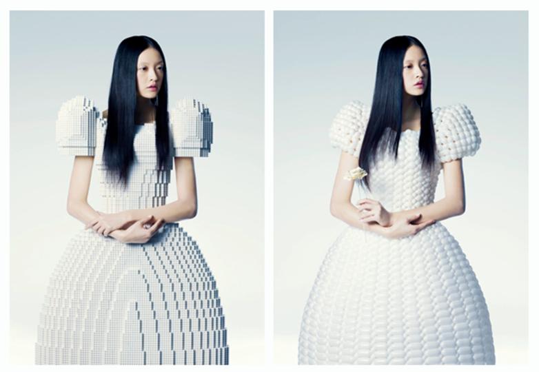 レゴで作られたウェディングドレス