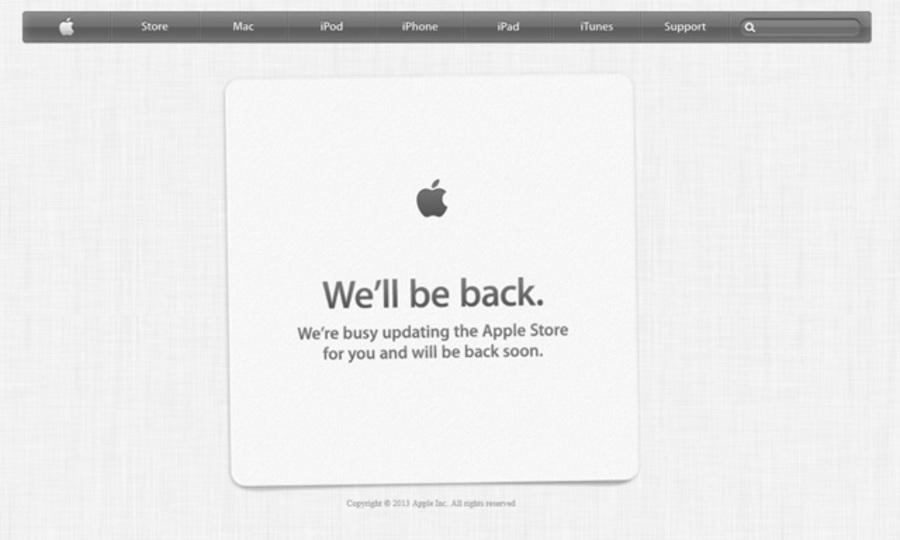WWDC 2013目前、アップルオンラインストアもメンテきた!