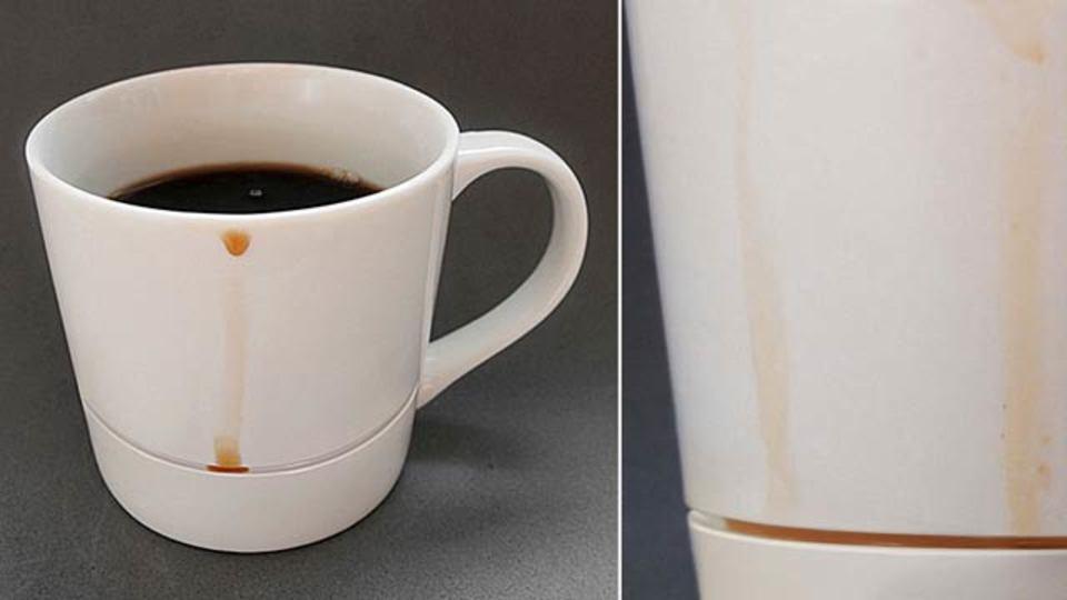 コーヒーが垂れても机が汚れない、ちょっと一工夫のマグカップ