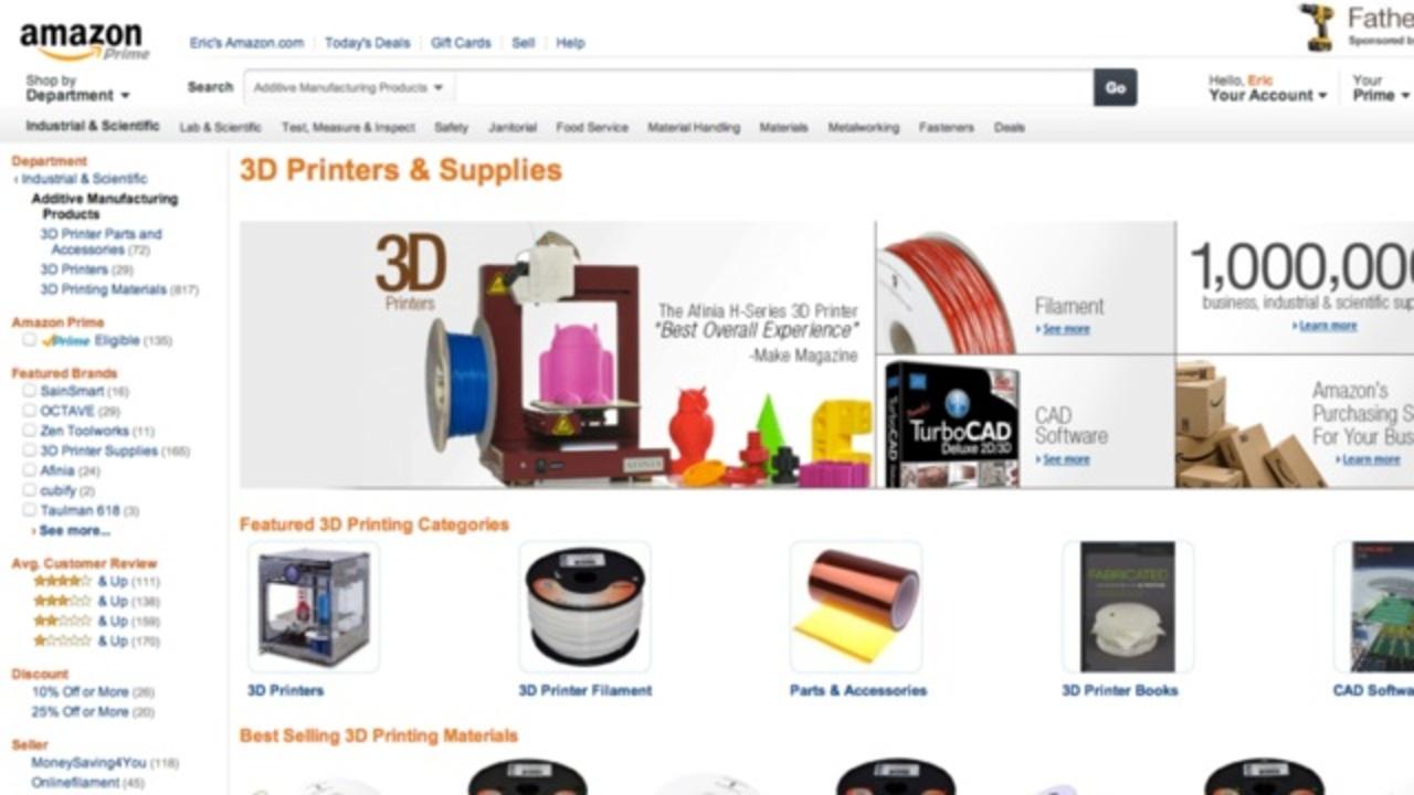 米アマゾンに3Dプリンターセクションが登場
