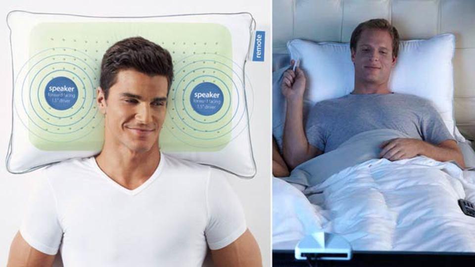 ワイヤレス枕で、ベッドがホームシアターに