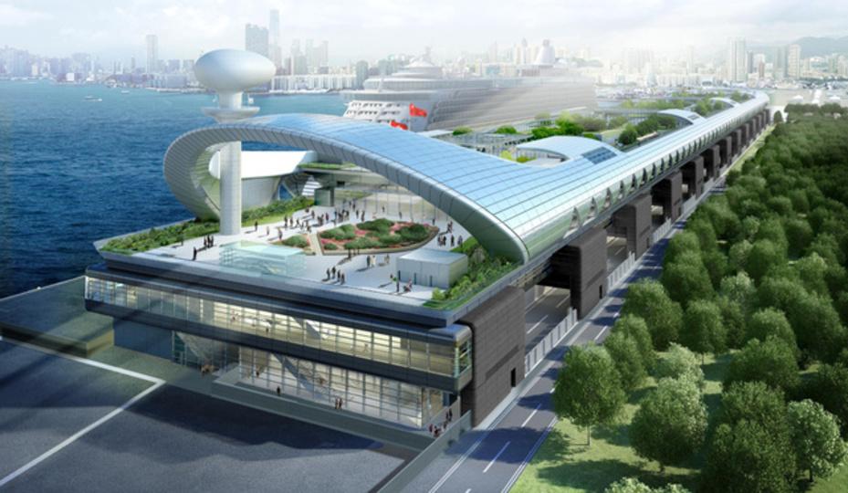 香港の啓徳空港跡地に新たに豪華クルーズ客船港がオープン(動画あり)