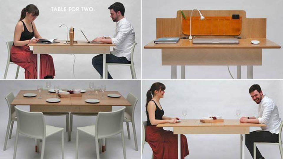 2人用のオフィスデスクが、あっと言う間に6人用の食卓に(動画あり)