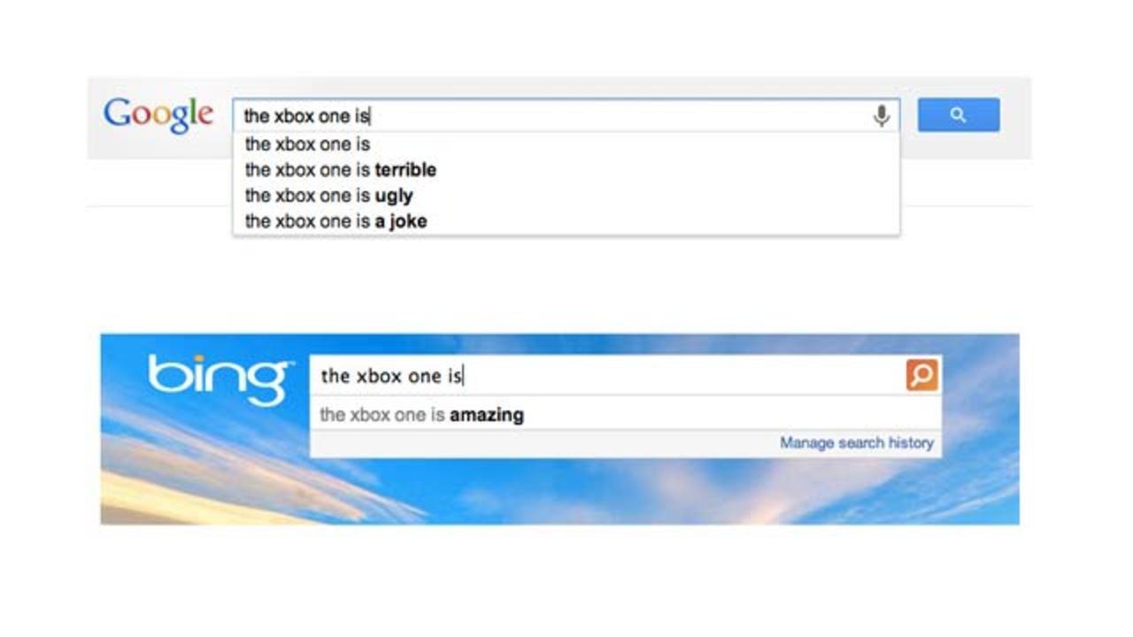 グーグルとBingでそれぞれ「Xbox One」を検索してみると...