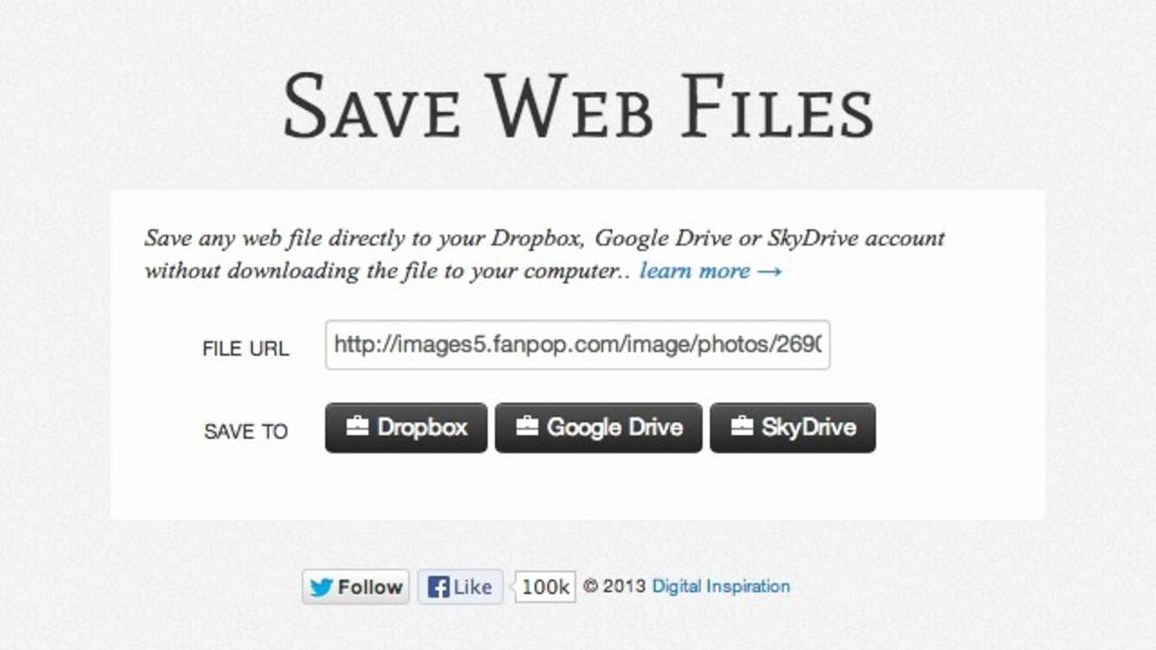 ダウンロードせずにウェブ上のファイルをクラウドに直接保存できる「Save Web Files」