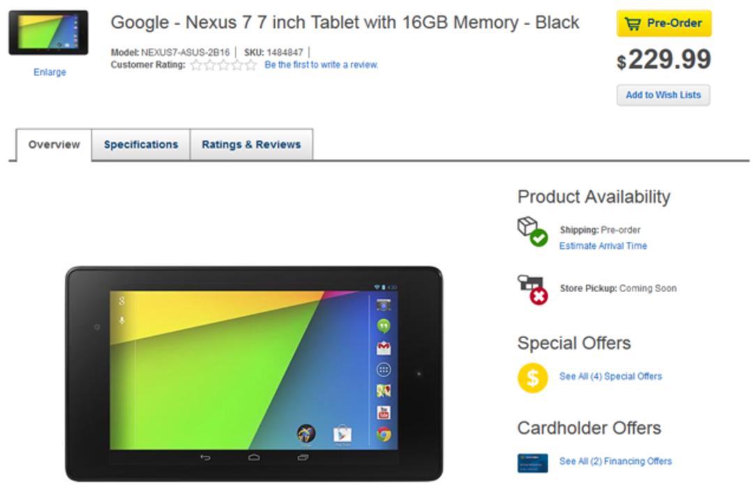 フライングきた! 米Best Buyで新Nexus 7の予約受け付け開始