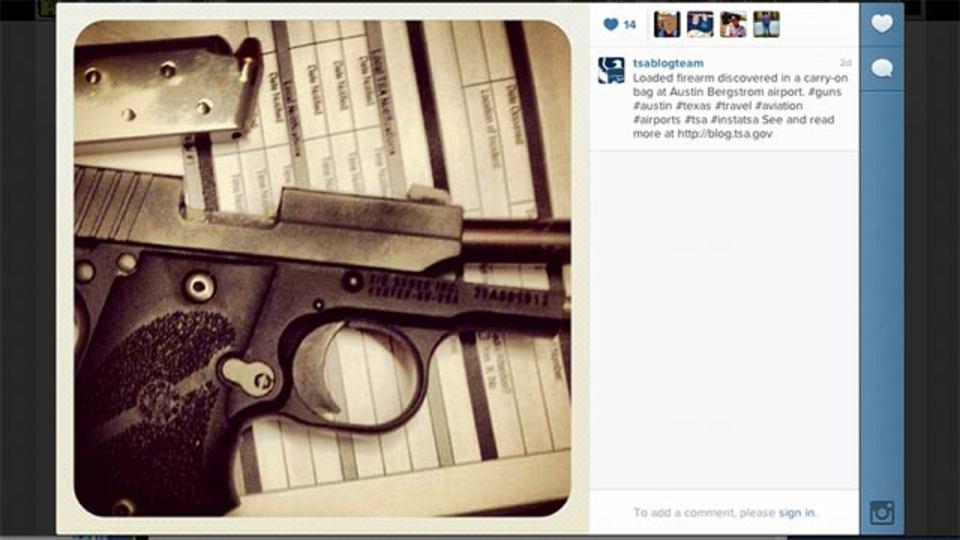 アメリカ合衆国国土安全保障省(TSA)がInstagramを開始、空港セキュリティで発見された危険物を投稿
