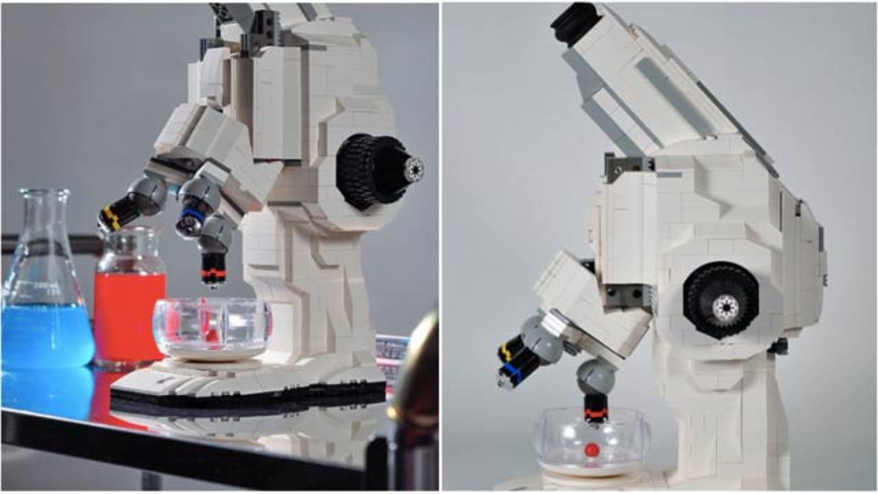 レゴでできた顕微鏡、動きます。シャーレもレゴです