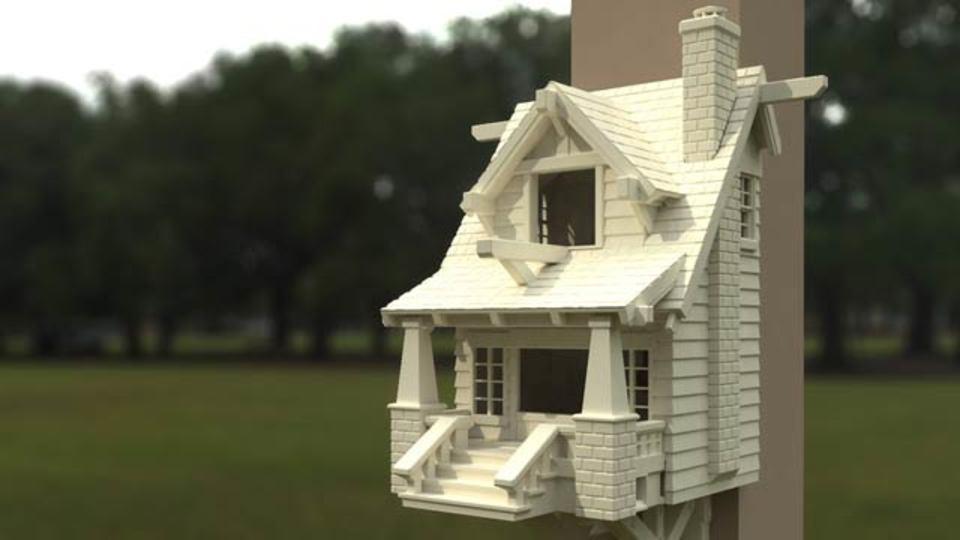 3Dプリンターで制作されたお家が、鳥さんのお家にピッタリでした