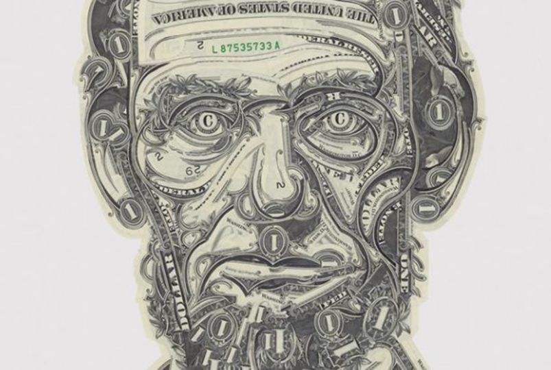 リンカーンはおいくら? ドル札でつくられた人物画