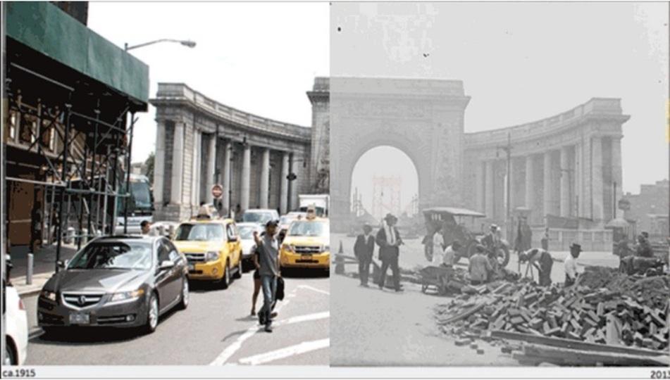 ニューヨーク、今と昔の写真をピタっと合わせて比較