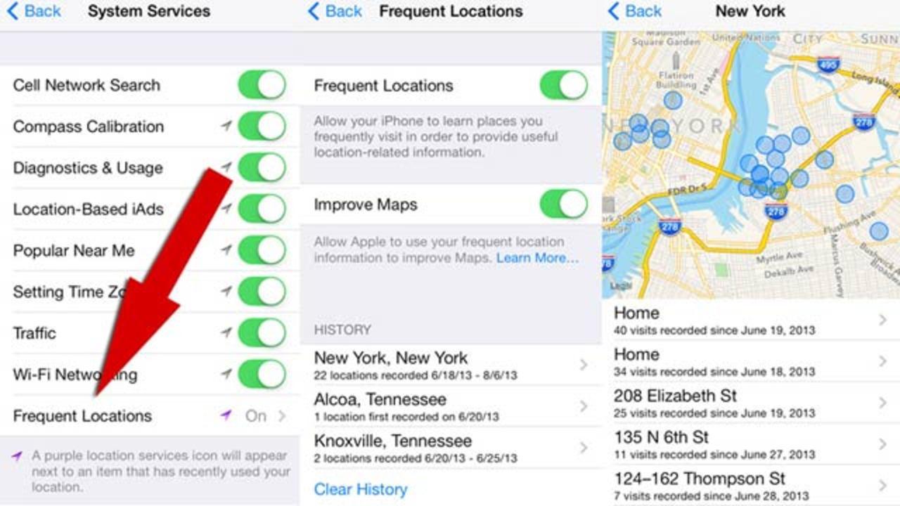 iOS 7で新機能見つかる、今まで行った場所全てを記録して、お気に入りの場所を割り出す