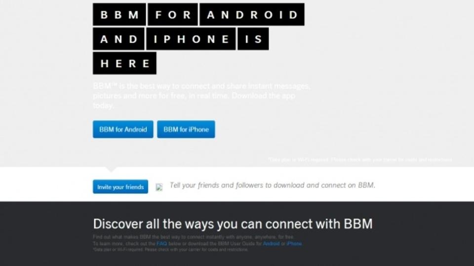 BlackberryのBBMアプリページがうっかりオープン、 AndroidとiOS向けに同時公開か