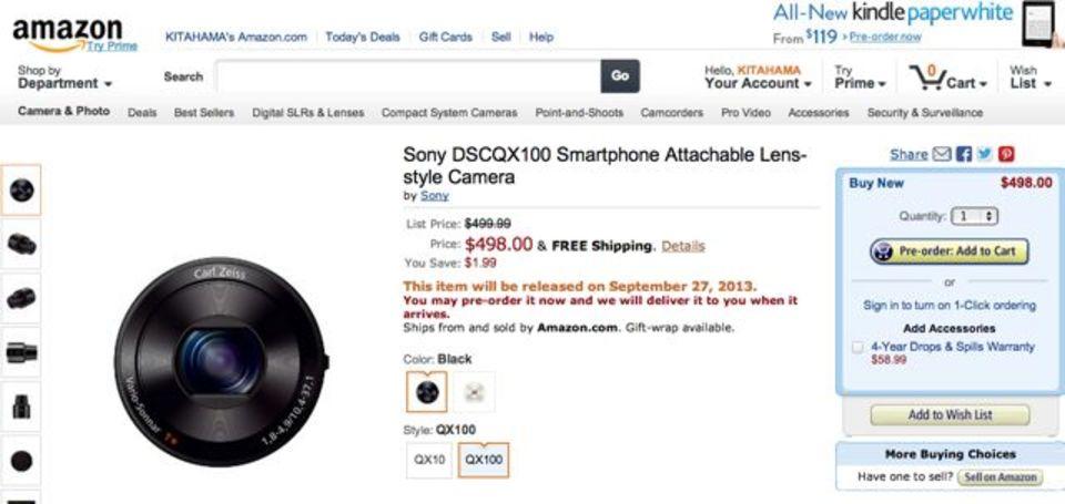 [ #IFA2013 ]ソニーのレンズカメラ「QX10」「QX100」が発表前にAmazonで掲載されてた!