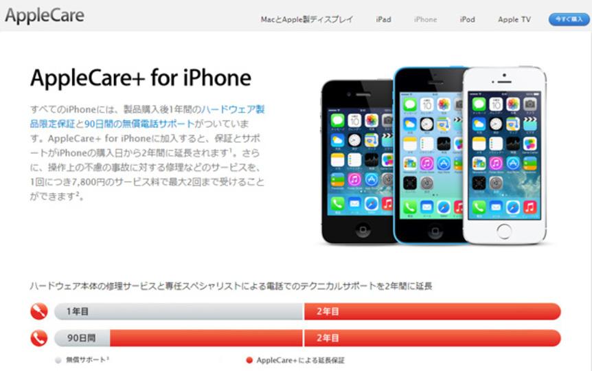 AppleCare+のサポート料金が4400円から7800円にアップしました