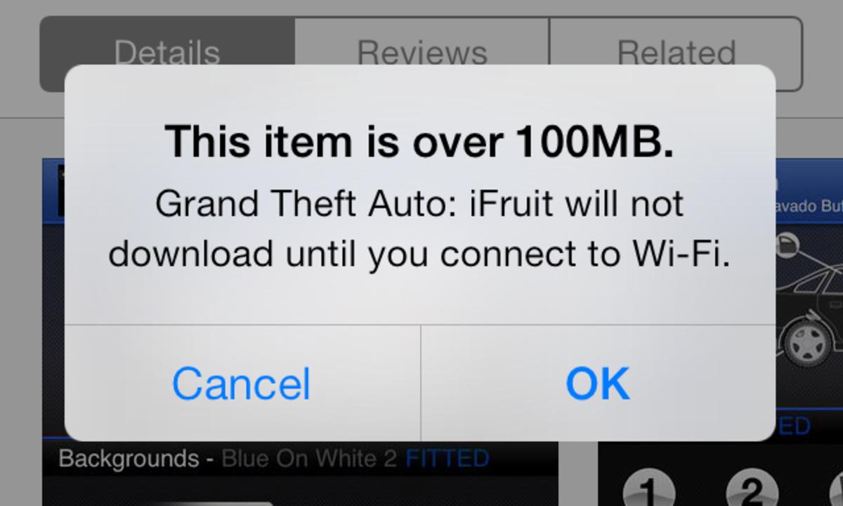 iOS 7では携帯回線でも100MBまでのアプリがダウンロード可能に