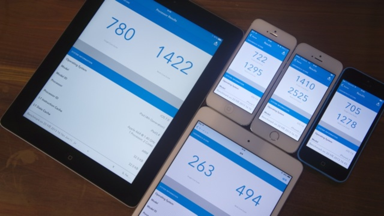【 #iPhone5s5c 】アップルの新世代プロセッサA7の実力は!? iPhone 5s/5c、iPad 4th、iPad miniベンチマークテスト