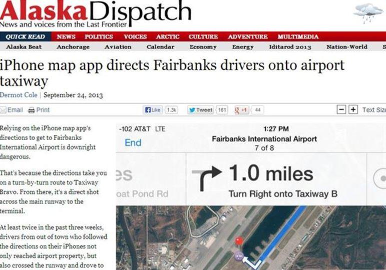 アップルマップを信じて空港滑走路をひた走る車が続出