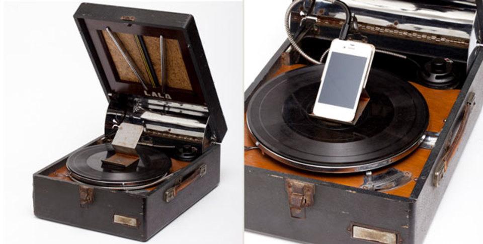 平成生まれのiPhoneと大正時代の蓄音機の世代を超えたパイルダーオン