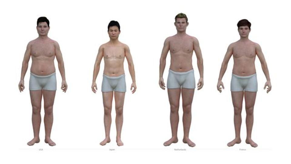 日本、アメリカ、オランダ、フランスの平均男を一望に