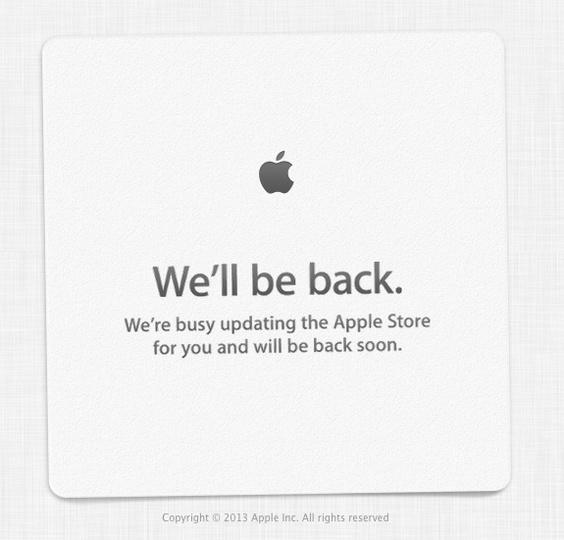 アップルのオンラインストアが「We'll be back.」へ! 新商品がいよいよ登場か!?
